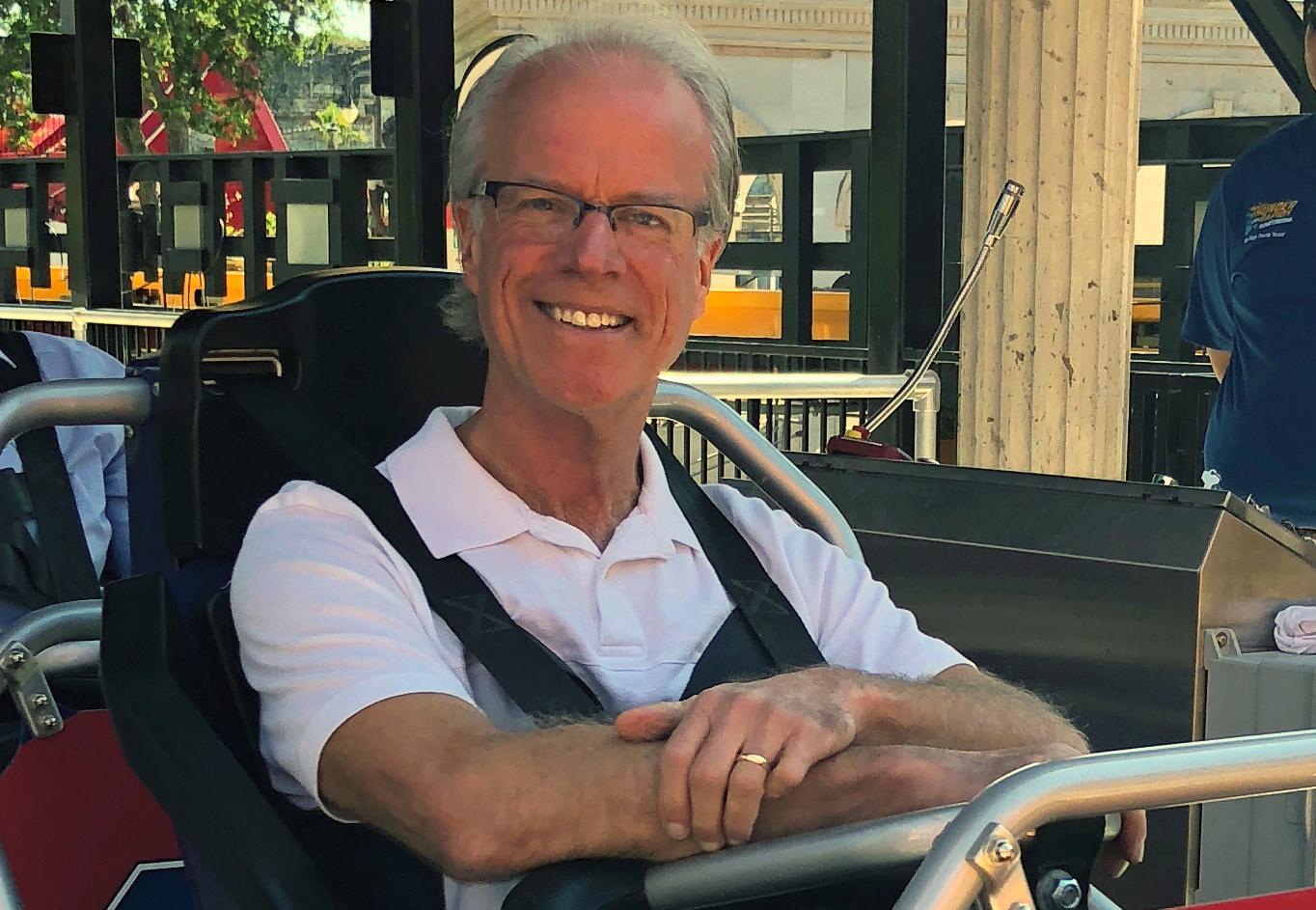 Arthur gets a sneak peek ride on unique single-rail coaster